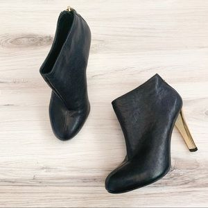 Tory Burch Black Leather Gold Heel Ankle Booties